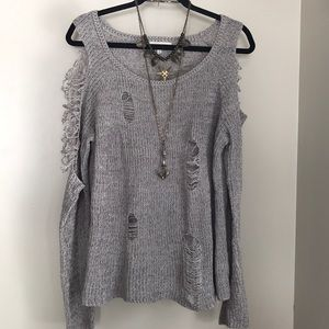 Gilded Intent Buckle Gray tattered sweater